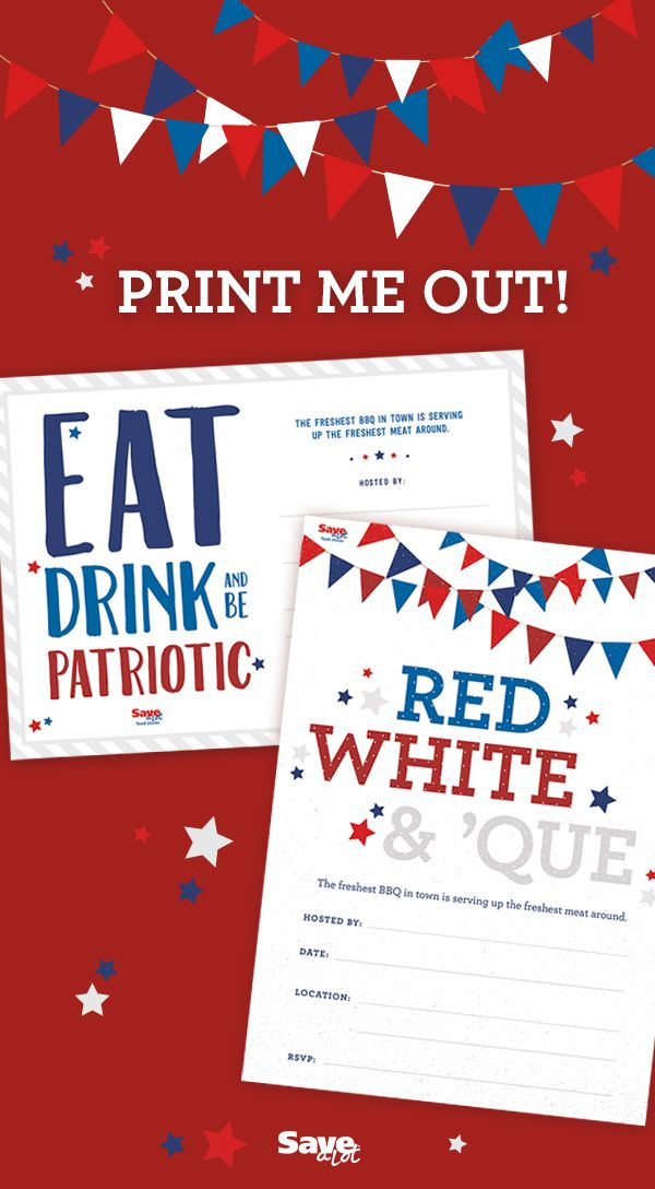 Free Printable Patriotic Invite 4th Of July Invite Fourth Of July Invite Red White Blue Downloadable Fourth Of July 4th Of July Party 4th Of July