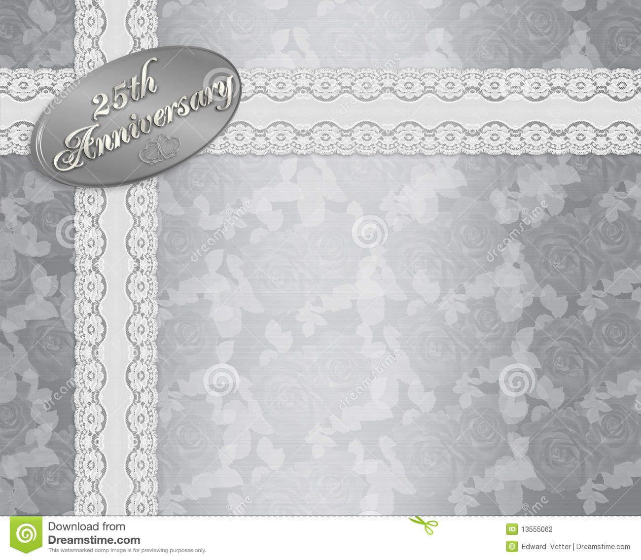Backdrops Silver Wedding Invitations: 25th Wedding Anniversary Stationery