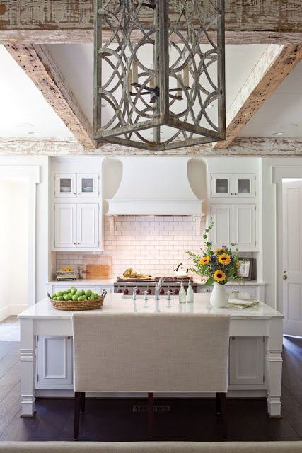 Exceptionnel White Kitchen, Upholstered Bench Seating Instead Of Stools For The Kitchen  Island, Distressed Ceiling Beams