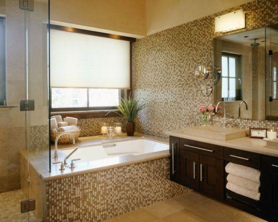 Mosaik im Badezimmer Fliesen in braunen Tönen Bathroom Pinterest