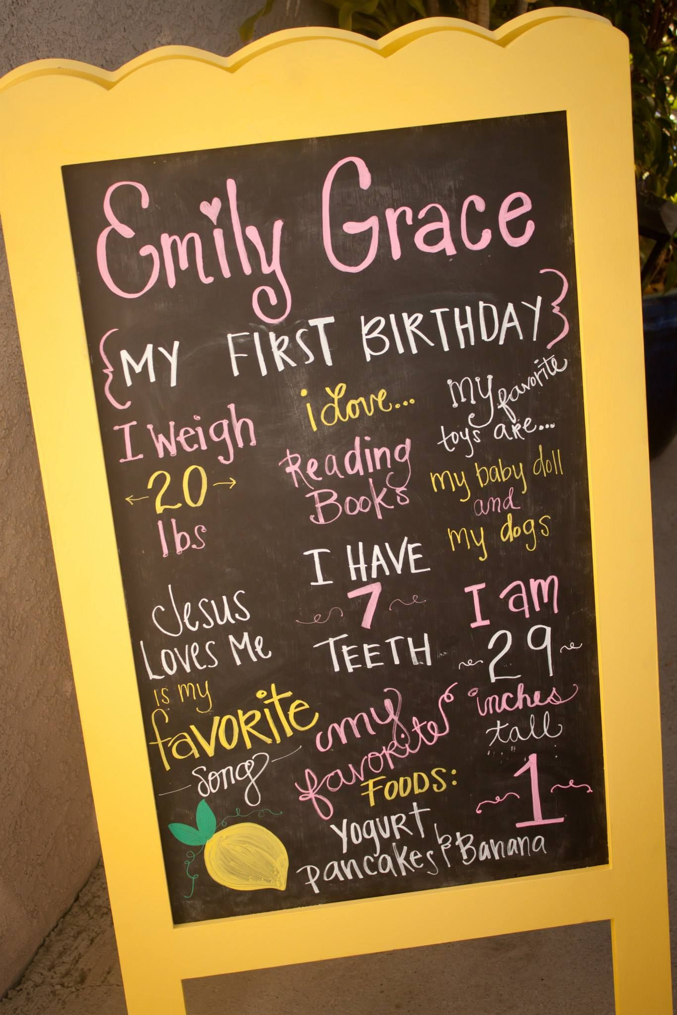 Pink Lemonade Party - Chalkboard easel with information about the birthday girl.