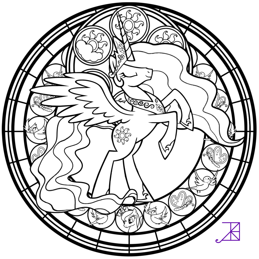 Stained Glass: Celestia -take 2- -line art- by Akili-Amethyst ...