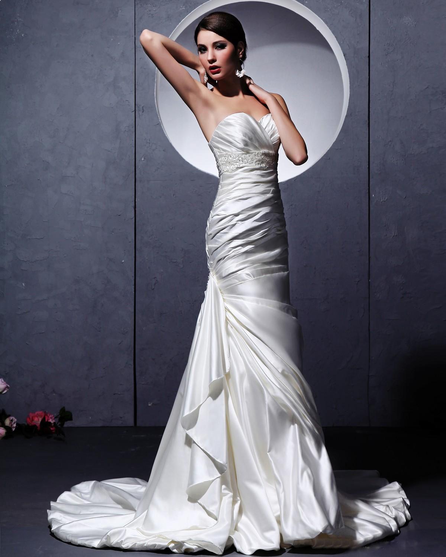 Mermaid ruffle wedding dress  Sweetheart Satin Chapel Train Mermaid Wedding Dress Read More