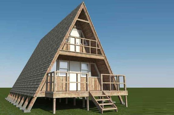 Frame Cabin Plans 23 x 20 Two Story A Frame Cabin Vacation   Etsy