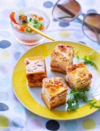 Quiche en cubes et sa verrine de gelée de poivrons rouges, concombre, kiwi et mascarpone