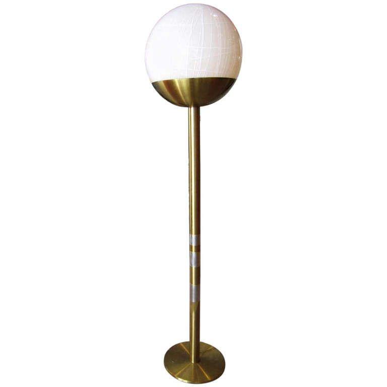 mid century modern floor lamp with murano glass ball