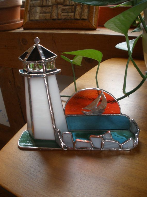 Lighthouse Business Card Holder In Stained By Imagesinglassnstone