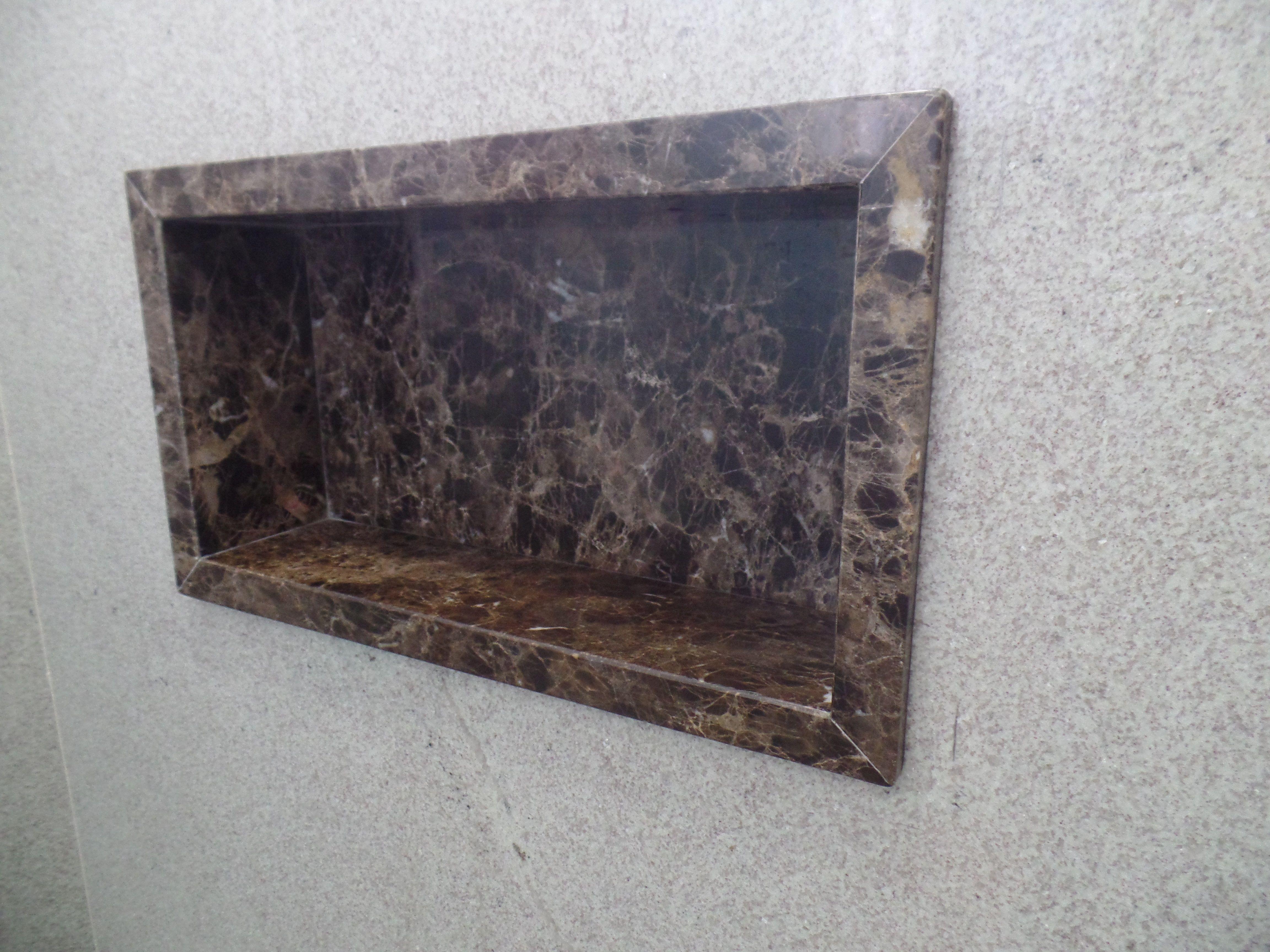 Nicho de Banheiro em Mármore Marrom Emperador  Banheiros  Pinterest  Em -> Nicho Banheiro De Marmore