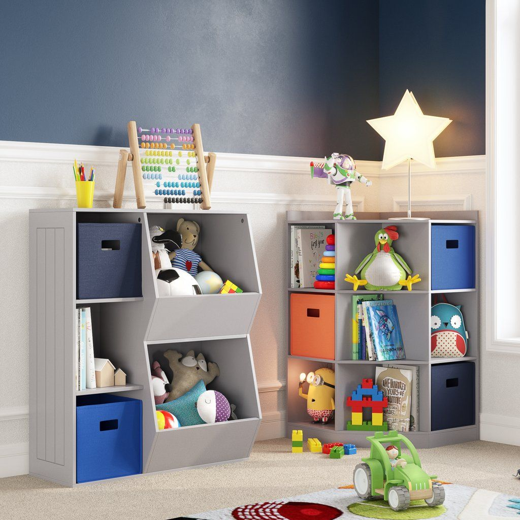 Kids Corner Storage Cabinet With Cubbies Shelves Riverridge Home Kids Bedroom Furniture Kids Storage Corner Storage Cabinet