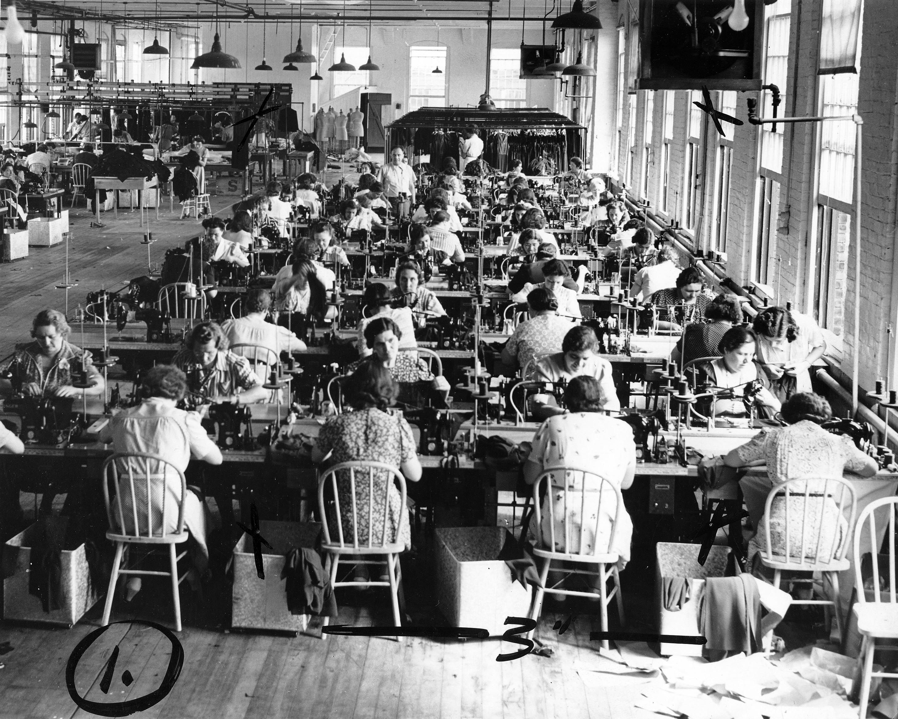 Image result for mass production garments 1950s