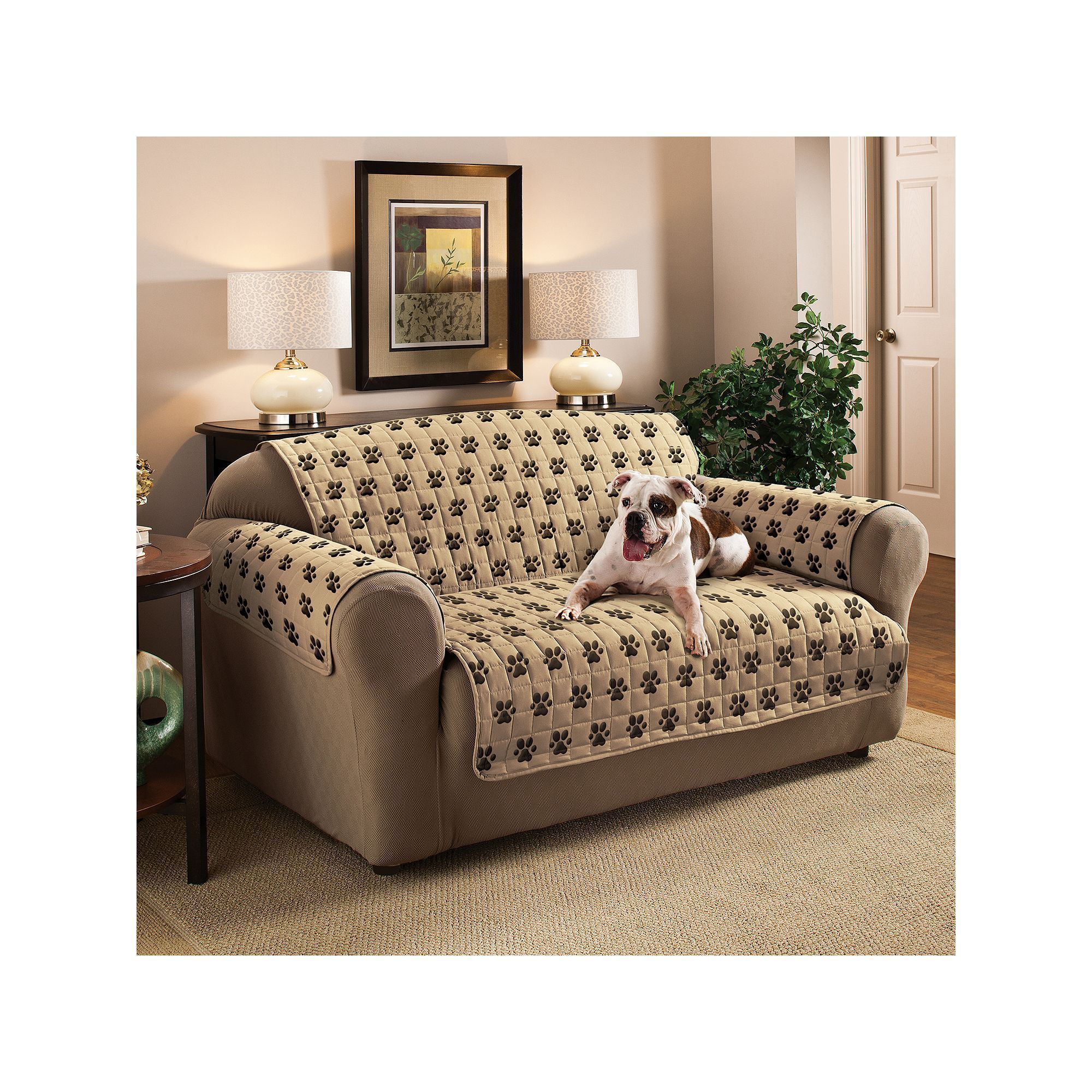 Fine Jeffrey Home Paw Prints Microfiber Loveseat Protector Andrewgaddart Wooden Chair Designs For Living Room Andrewgaddartcom