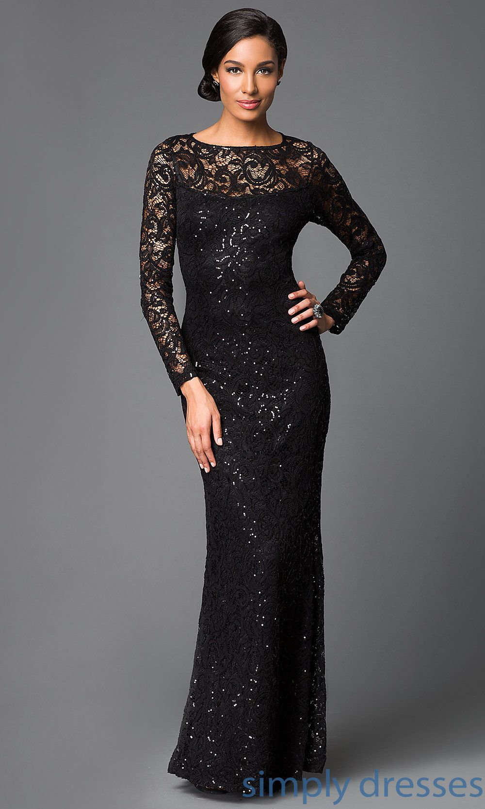 Long Sleeve Lace Formal Gown By Marina Black Lace Dress Long Lace Dress Long Long Sleeve Formal Gowns