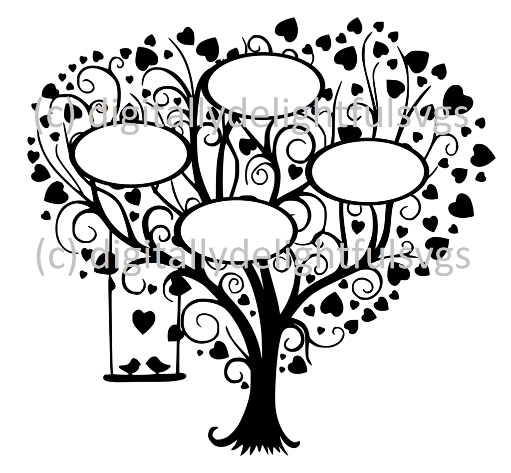 Family Tree 4 svg Tree svg, Family tree picture frames