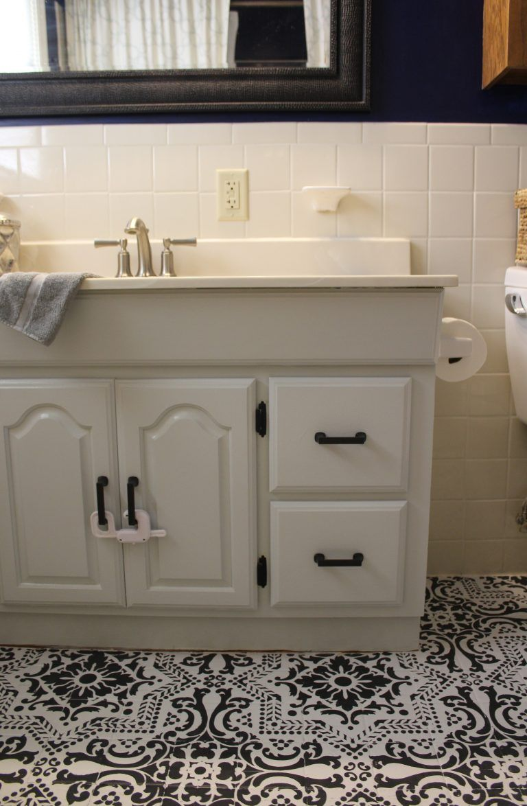 A painted bathroom vanity makeover before and after