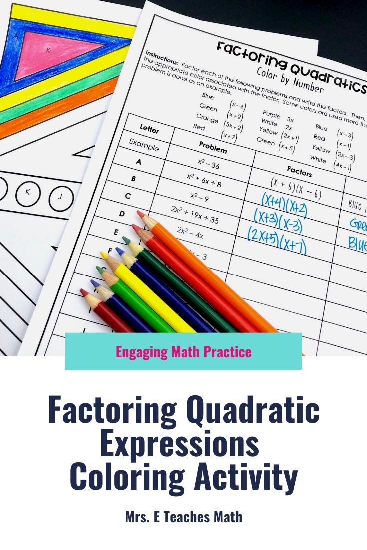Factoring Quadratics Color By Number High School Math Lesson Plans Middle School Math Lesson Plans Algebra Interactive Notebooks [ 1102 x 735 Pixel ]