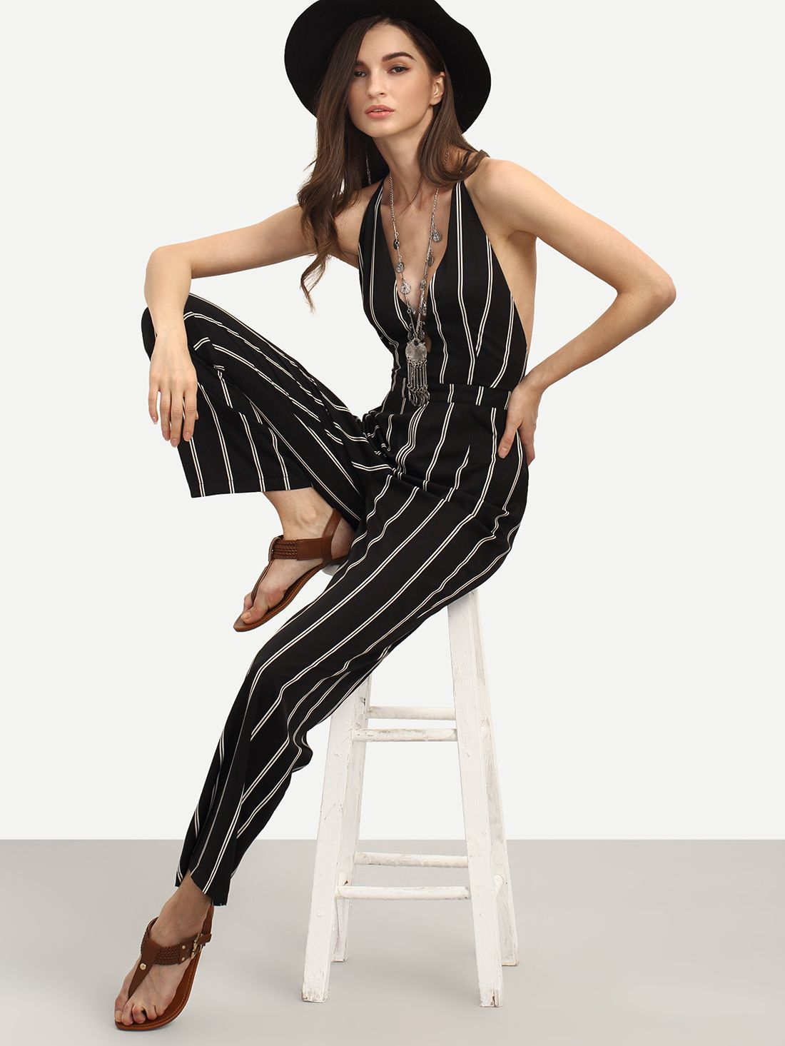 e824fc6c5f Shop Black And White Striped Sleeveless V Neck Jumpsuit Online Shop Black  Sleeveless Cut Out Backless · SheIn ...