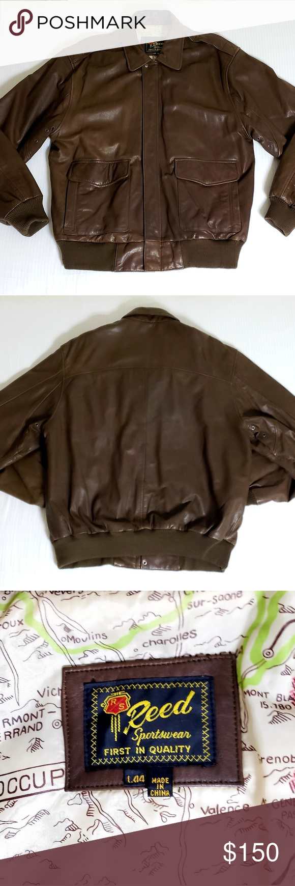 Vintage Reed Sportswear Leather Bomber Jacket L 44 Excellent Condition Very Well Taken Care Of See Photos Leather Bomber Jacket Clothes Design Leather Bomber [ 1740 x 580 Pixel ]