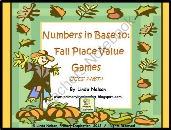 Numbers in Base Ten: Fall Place Value Games from PrimaryInspiration on TeachersNotebook.com (12 pages)  - Five bright and colorful fall math games for CCSS 2.NBT.2 - place value!