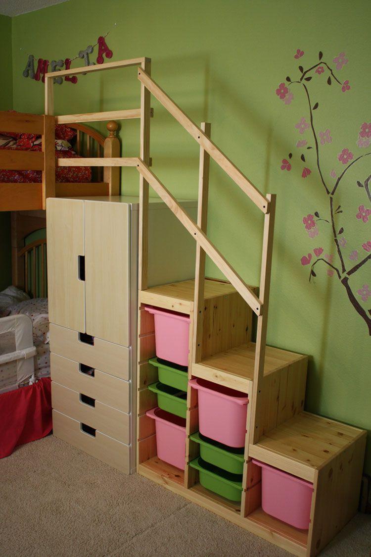 Double loft bed with stairs  Risultati immagini per stuva bed hack  bébé  Pinterest  Ikea