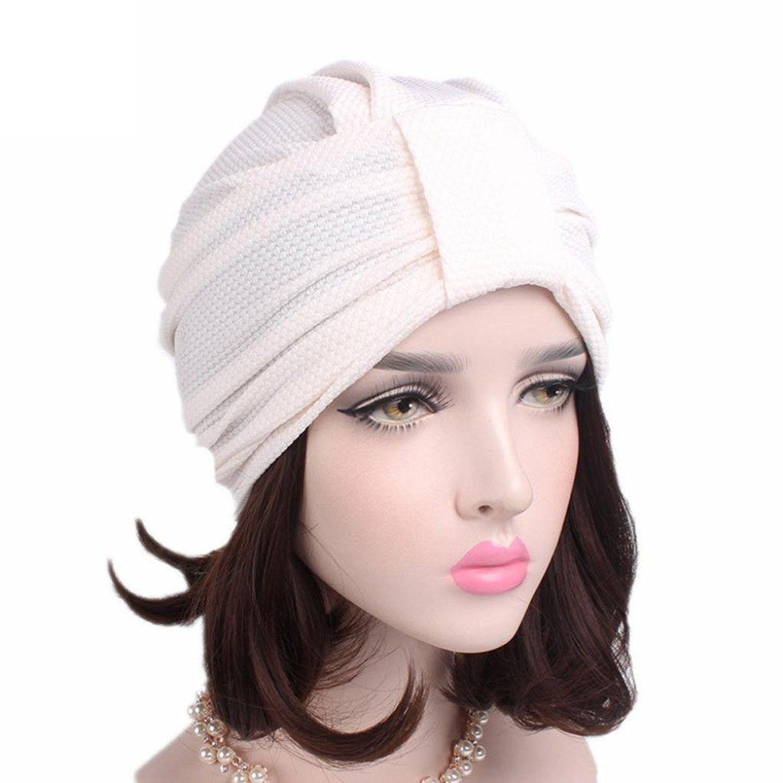 Women Solid Pre Tied Yoga Cancer Chemo Hat Beanie Turban Stretch ... 61b5eca5ab6