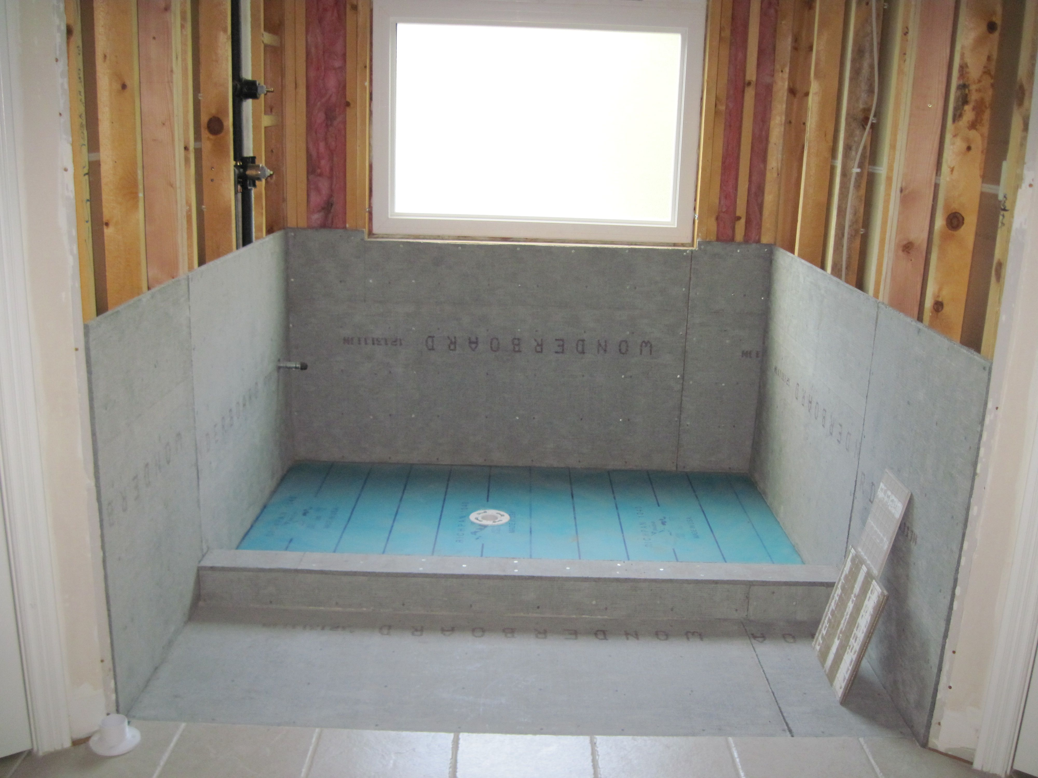 Cement board and shower pan master bathroom renovation project cement board and shower pan dailygadgetfo Image collections