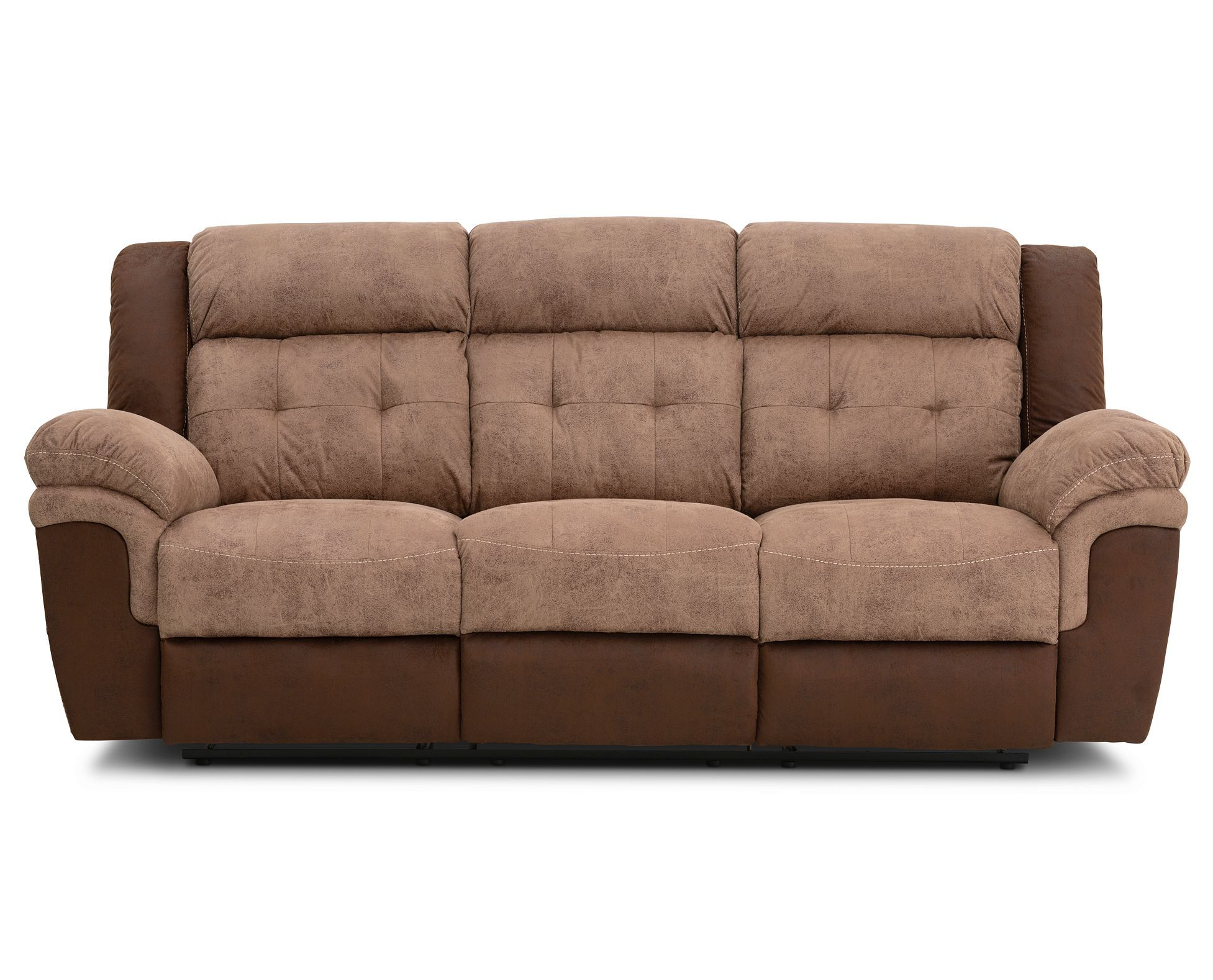 Upholstered In Two Tone Brown And Tan Fabric The Overstuffed And