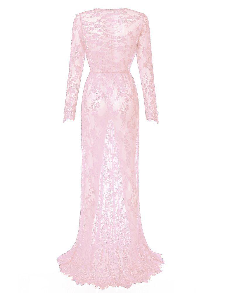 92f83e9e2123c Maternity Outfits - baggy maternity dresses : Saslax Maternity Sexy Deep  VNeck Long Sleeve Lace SeeThrough Maxi Dress for Beach Pink L >>> Want  extra ...