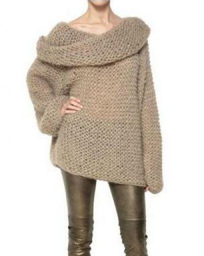 Camel Off the Shoulder Long Sleeve Chunky Sweater - Sheinside.com ...