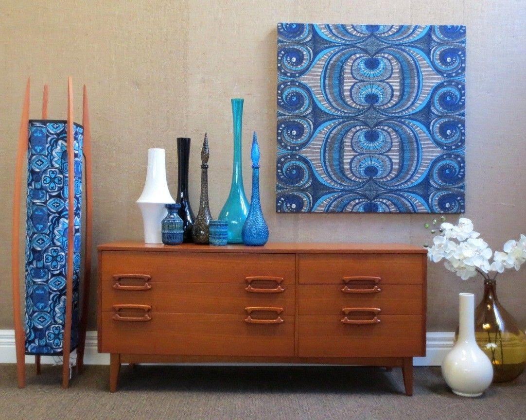 Retro s mid century blue jute wall art vintage scandi suit