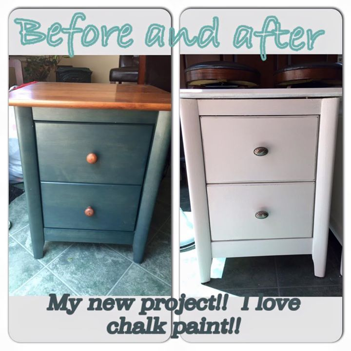 """I love your store!! Here are the before and after of the night stands I bought from you!"" - Diana Nightstands painted with chalk paint. Look what a little paint will do!  #HabitatForHumanity #ReStore #MVHH #MerrimackValleyHabitatForHumanityReStore"