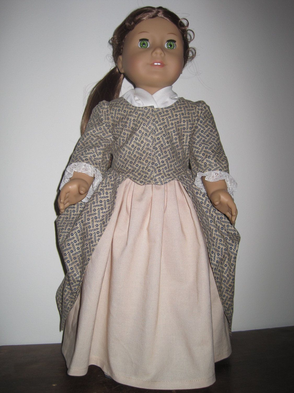 1770's En Forreau Gown for the American Girl and Similar 18 Inch Dolls. $42.00, via Etsy.