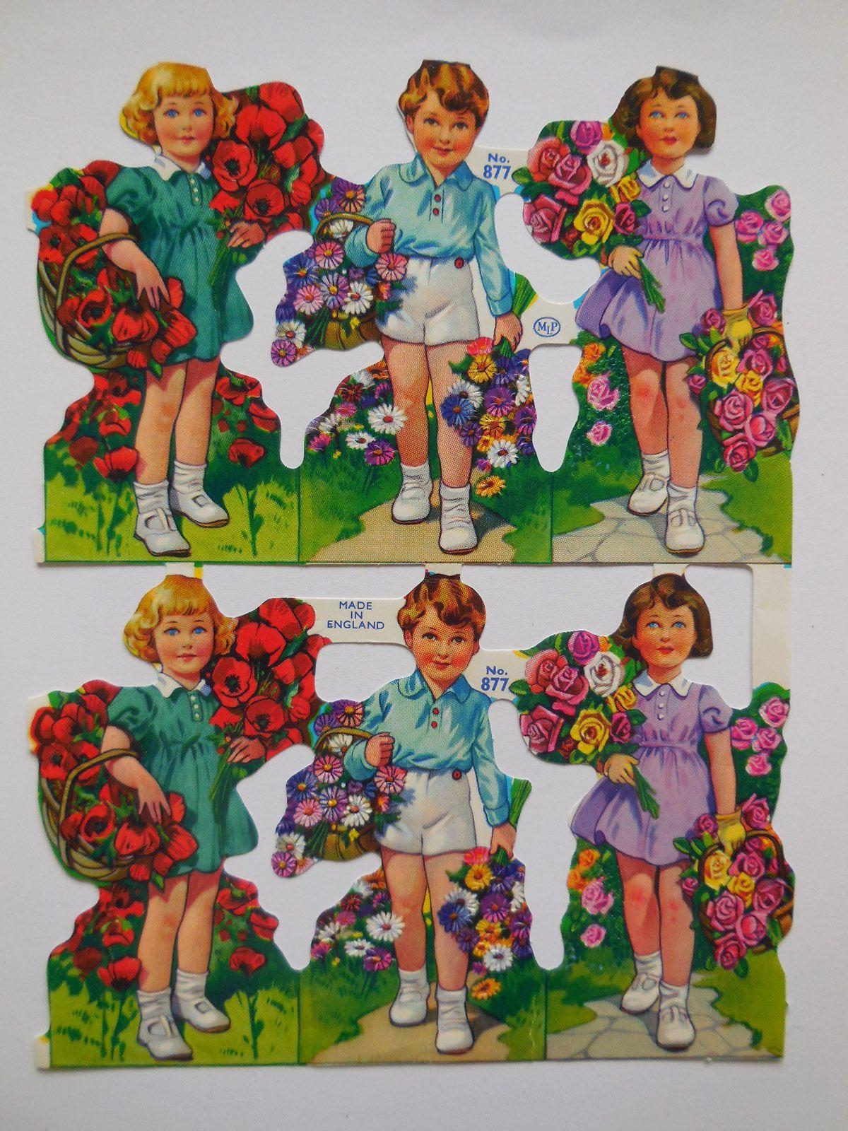 PZB VINTAGE PLAY CHILDREN  SCRAP GERMAN COLLAGE PAPER