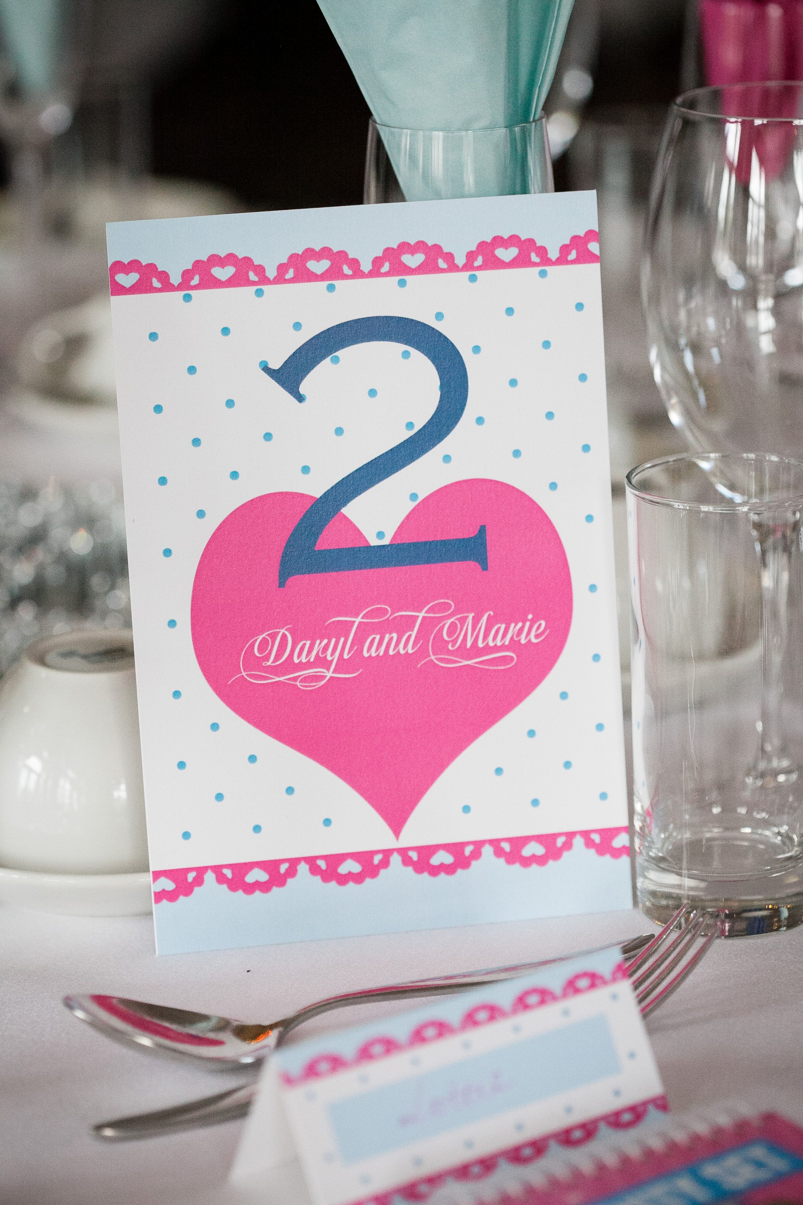 Matilda polka dot and heart vintage table number and place card ...