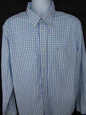 Tommy Hilfier Academy Poplin Mens Shirt Blue XL Extra Large Long Sleeve LOGO EUC