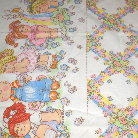 vintage 80s novelty cabbage patch kids fabric, featuring cute border print design, 1 yard, 4 available PRICED PER YARD