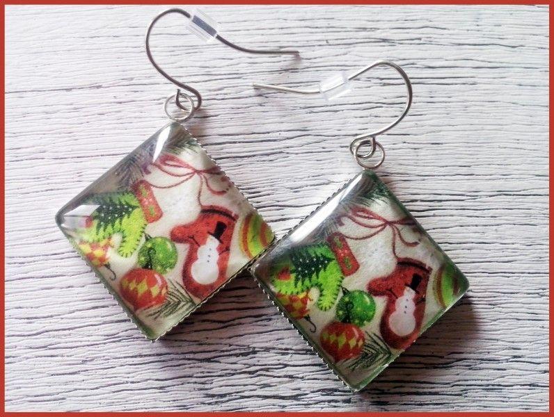 Christmas Earrings Christmas Jewelry Mitten Earrings Mitten Jewelry Holiday Jewelry Silver Jewelry Holiday earrings