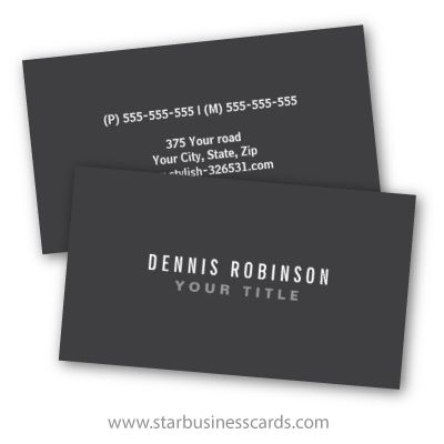 Contemporary, simple yet elegant and masculine dark gray personal profile or business card. Customizable name and title / company name on the front and contact information on the back. White text. Great design for a lawyer, attorney, accountant or anyone who wants a dark, general business card