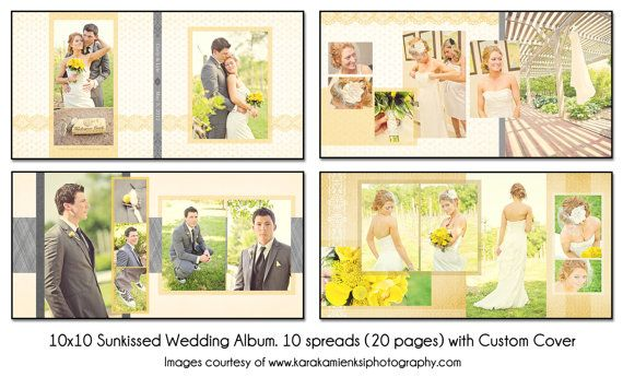 PSD Wedding Album Template SUNKISSED 10x10 by KatieAnnDesigns - free album templates