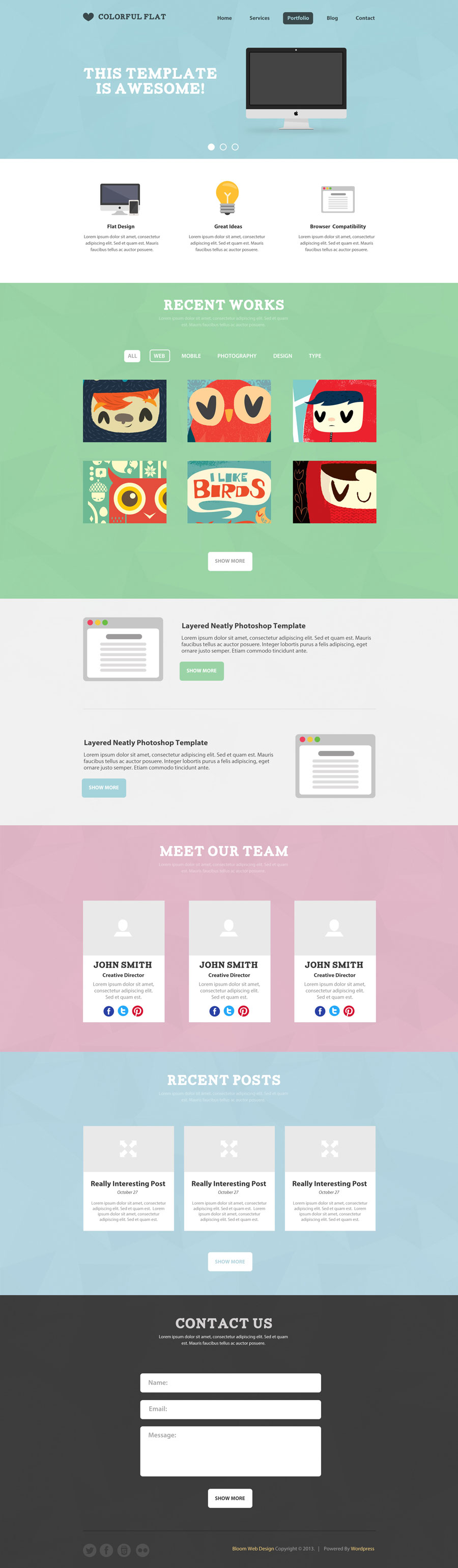 Colorful Flat One Page Web Template | Web Design | Pinterest ...