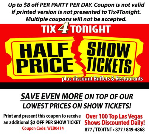 image about Viva Printable Coupon titled simply click for Tix4Tonight printable las vegas coupon Vegas