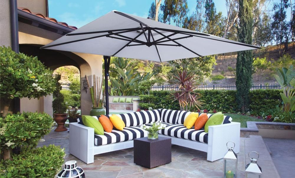 10 Square Cantilever Outdoor Umbrella Black Pole And Frame Size 10 X 10 Ribs 8 Shape Squar Rectangular Patio Umbrella Patio Table Umbrella Patio Umbrella