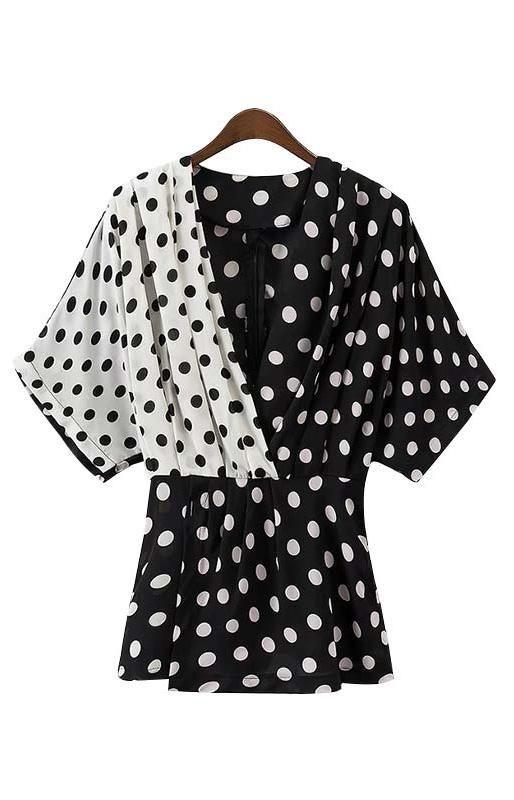 047953f948518 Trendy-Road-Style-Shop-Online-Woman-Fashion-Street-top-blouse-polka-dot- black-white-vneck-cute