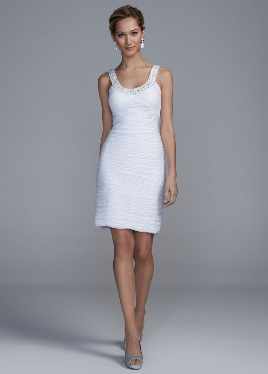 Short allover ruched dress with beaded neckline davidus bridal