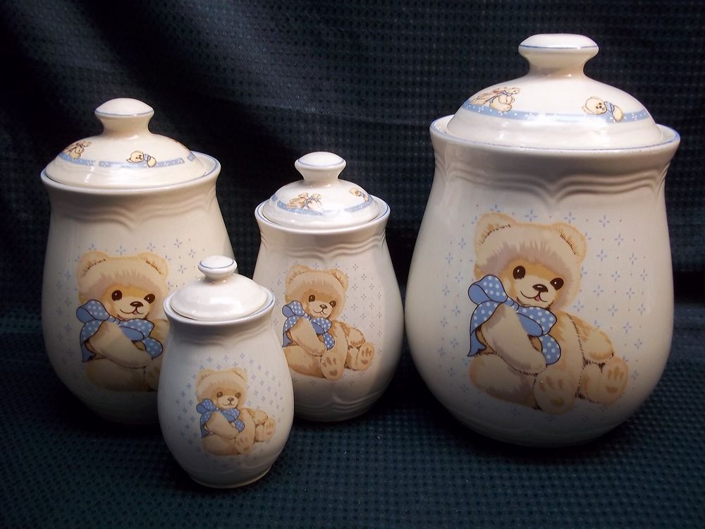 kitchen canisters pottery oil rubbed bronze hardware tienshan theodore country teddy bear stoneware set of 4 ...
