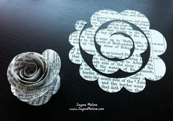 Diy Crafts - makeweddingflowers,royalweddingflowers-Best 12 Wedding Flowers – Vintage Sheet Music DIY Roses, 50 Die Cut Paper Roses, Paper Ephemera, P