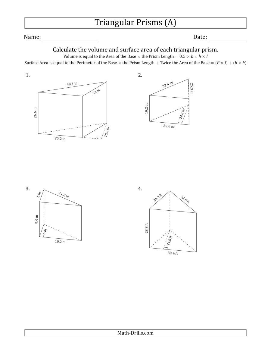 The Volume And Surface Area Of Triangular Prisms Black And White A Math Worksheet From The Measureme Triangular Prism Math Worksheet Measurement Worksheets