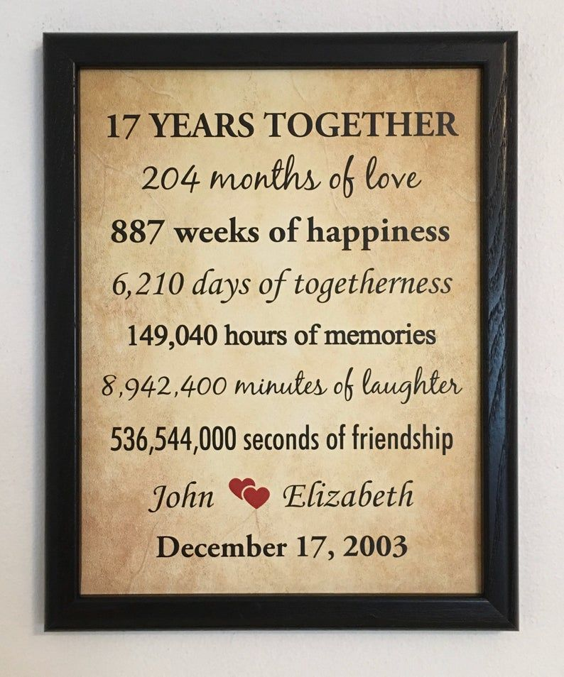 17th Anniversary Gifts 17 Year Anniversary Framed 17th Etsy 17th Anniversary Gifts Anniversary Gifts For Parents 17th Anniversary