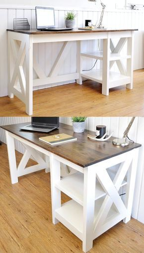 farmhouse x office desk diy schreibtisch rustikaler rh pinterest at