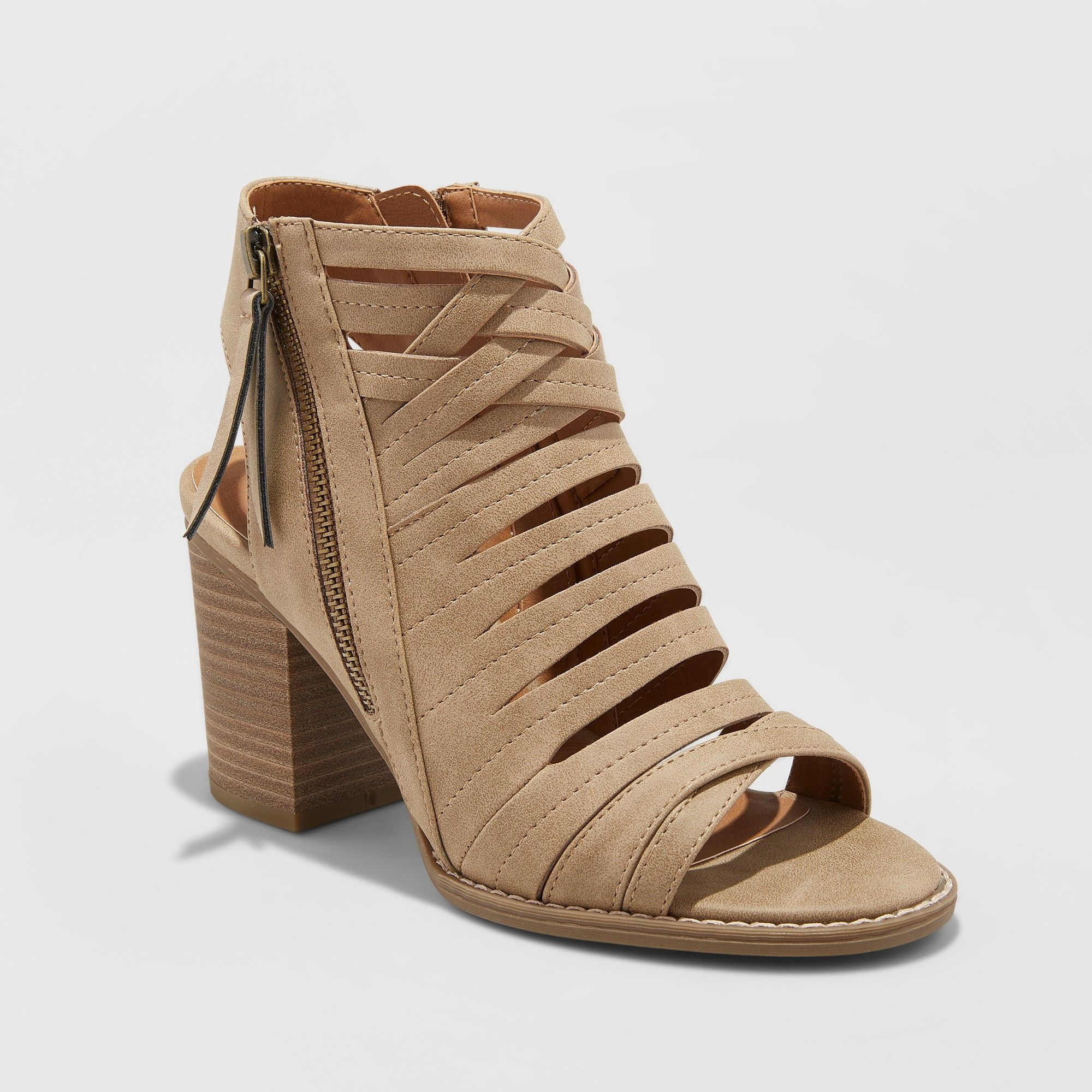 f34886460c7 Women s Elda Microsuede Wide Width Open Toe Heeled Pump Sandals - Universal  Thread Taupe (Brown) 10W