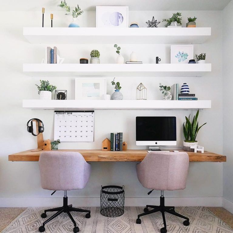 07 Use A Wall Shelf In The Workspace Home Office Decor Modern Home Offices Guest Room Office